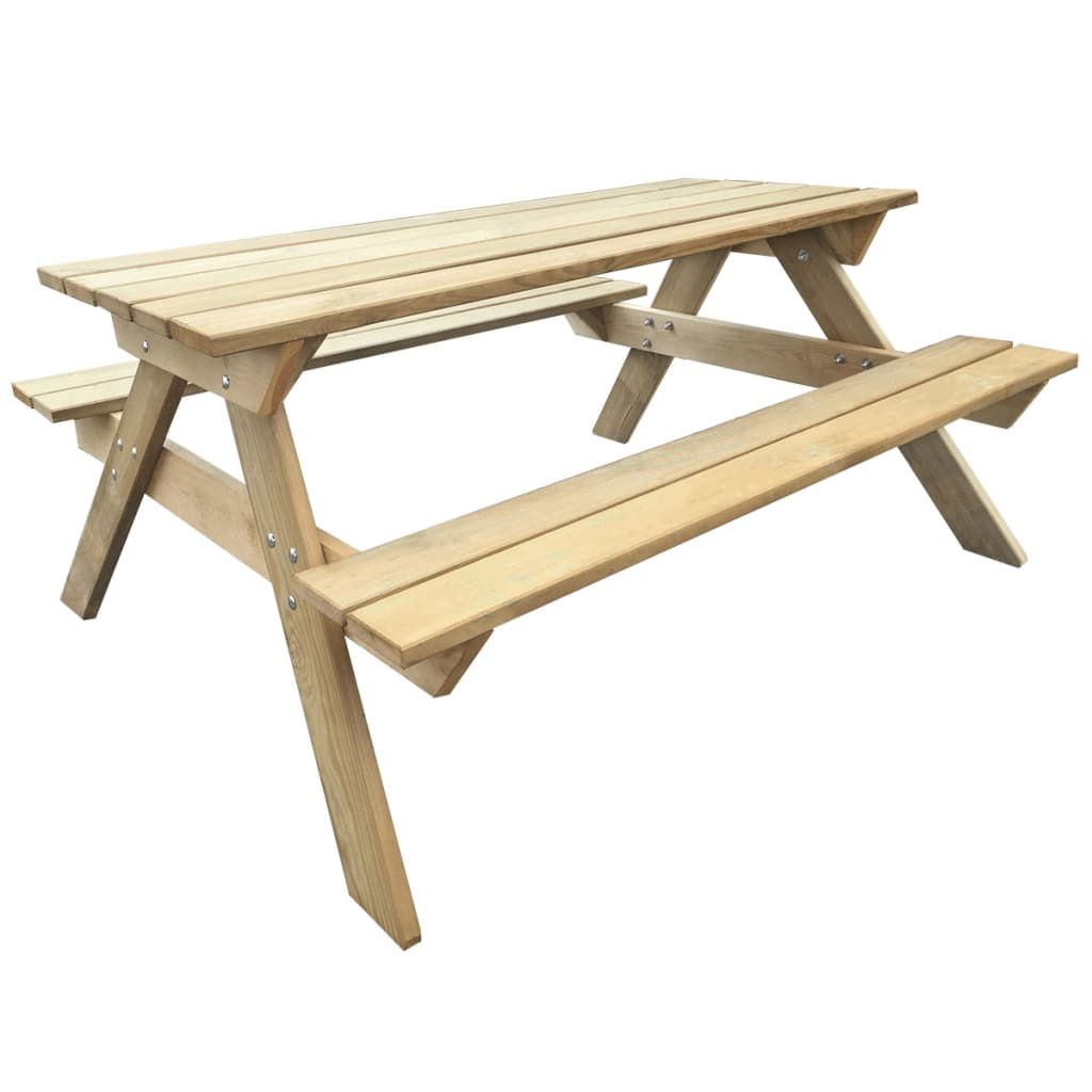 Wooden picnic table 150 x 135 x 71 5 cm for Table bois brut