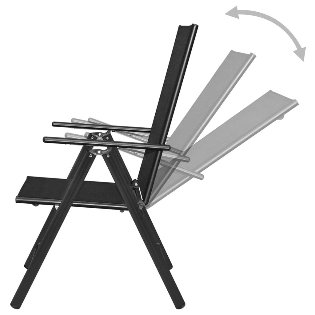 acheter vidaxl chaise de jardin pliable 2 pcs en aluminium noir pas cher. Black Bedroom Furniture Sets. Home Design Ideas