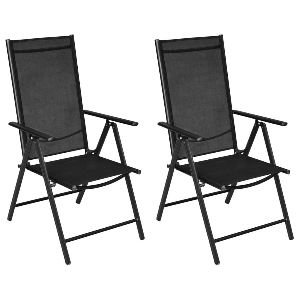 la boutique en ligne vidaxl chaise de jardin pliable 2 pcs en aluminium noir. Black Bedroom Furniture Sets. Home Design Ideas