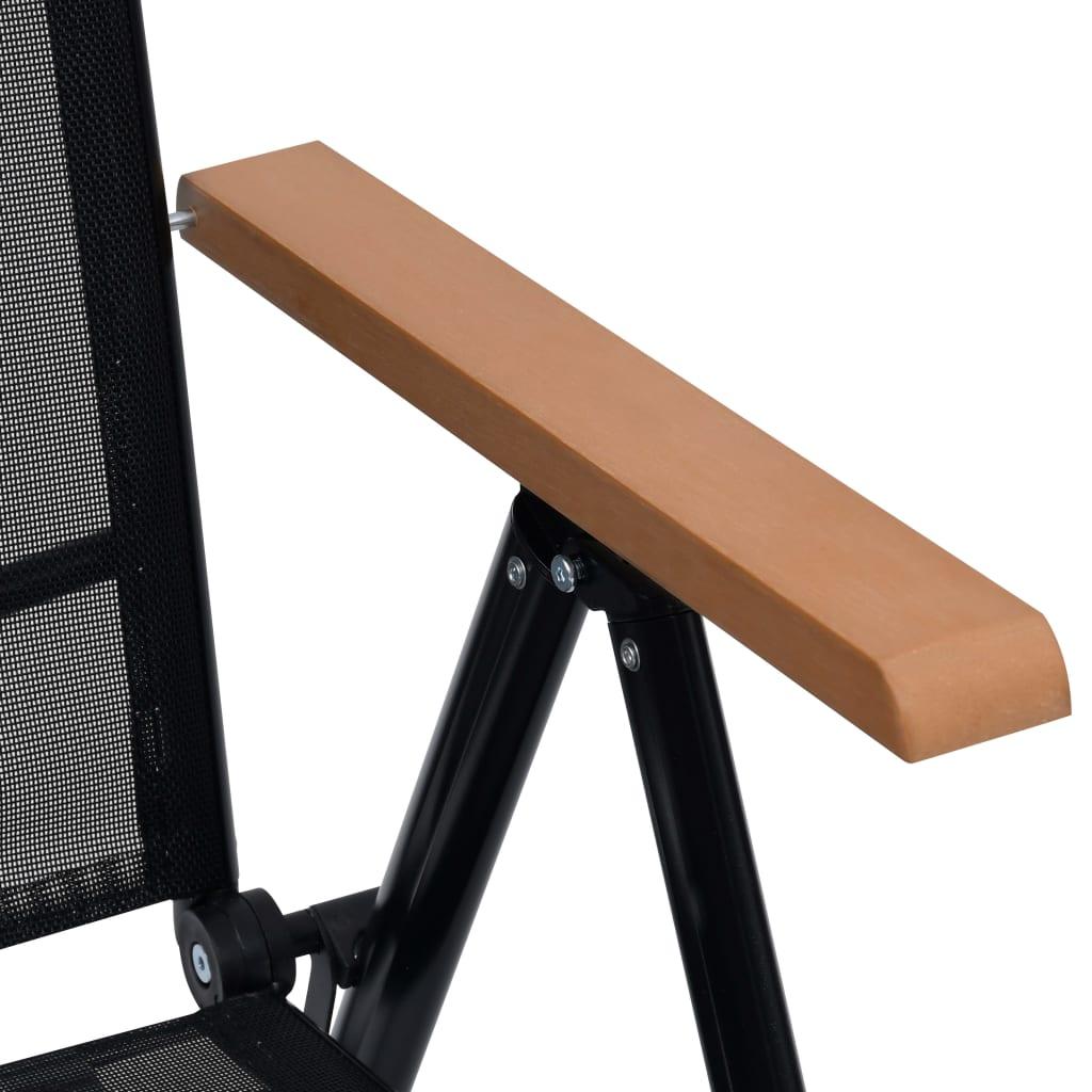 Vidaxl sillas plegables de jard n aluminio 2 uds 58x65x109 cm negro - Sillas de aluminio para jardin ...