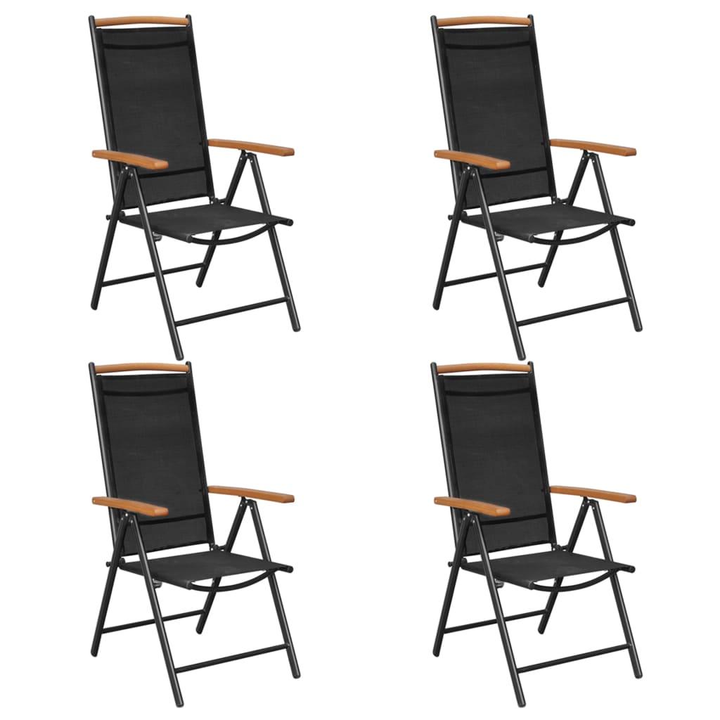 2 4x alu klappstuhl gartenstuhl campingstuhl hochlehner st hle aluminium schwarz ebay. Black Bedroom Furniture Sets. Home Design Ideas