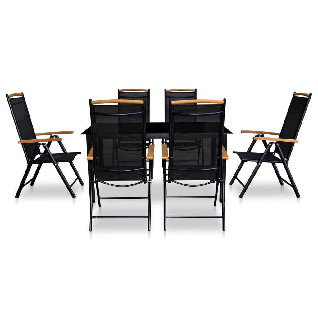 vidaxl siebenteiliges gartenm bel set aluminium schwarz g nstig kaufen. Black Bedroom Furniture Sets. Home Design Ideas
