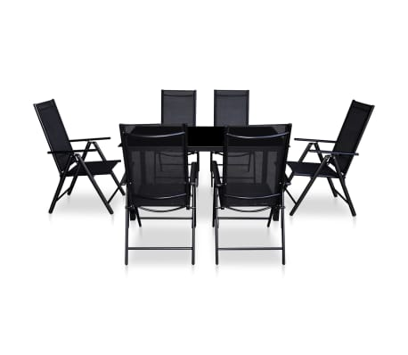 vidaxl jeu salle manger d 39 ext rieur en aluminium noir. Black Bedroom Furniture Sets. Home Design Ideas