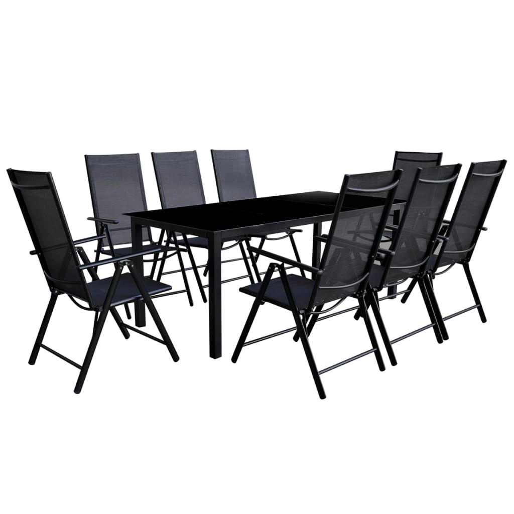 vidaxl neunteiliges gartenm bel set aluminium schwarz g nstig kaufen. Black Bedroom Furniture Sets. Home Design Ideas