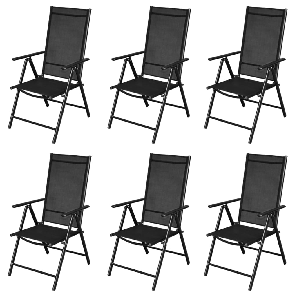 vidaxl neunteiliges klappbares gartenm bel set aluminium schwarz g nstig kaufen. Black Bedroom Furniture Sets. Home Design Ideas