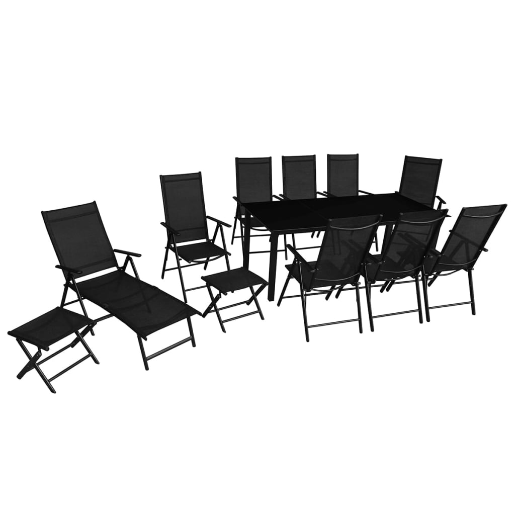 vidaxl 12 tlg klappbares gartenm bel set aluminium schwarz g nstig kaufen. Black Bedroom Furniture Sets. Home Design Ideas