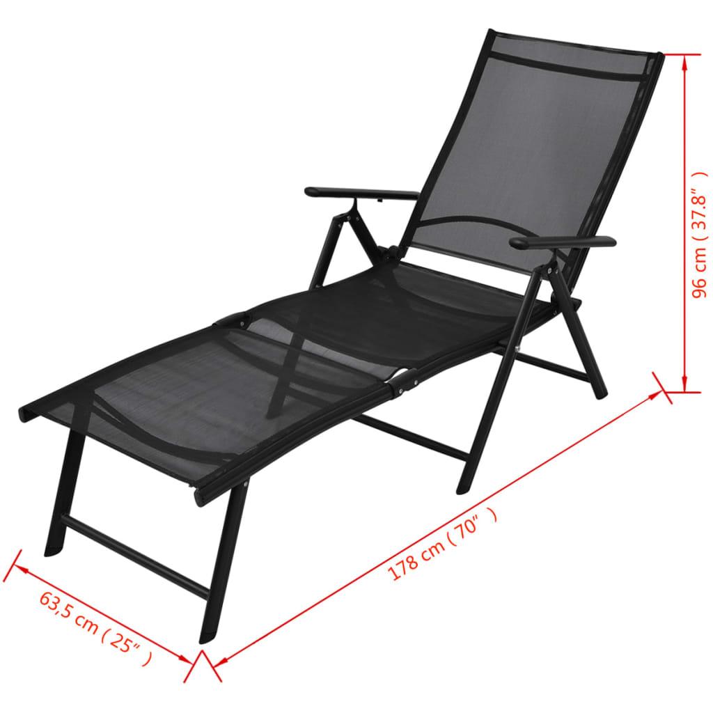 vidaxl klappbare sonnenliege aluminium 178x63 5x96 cm. Black Bedroom Furniture Sets. Home Design Ideas