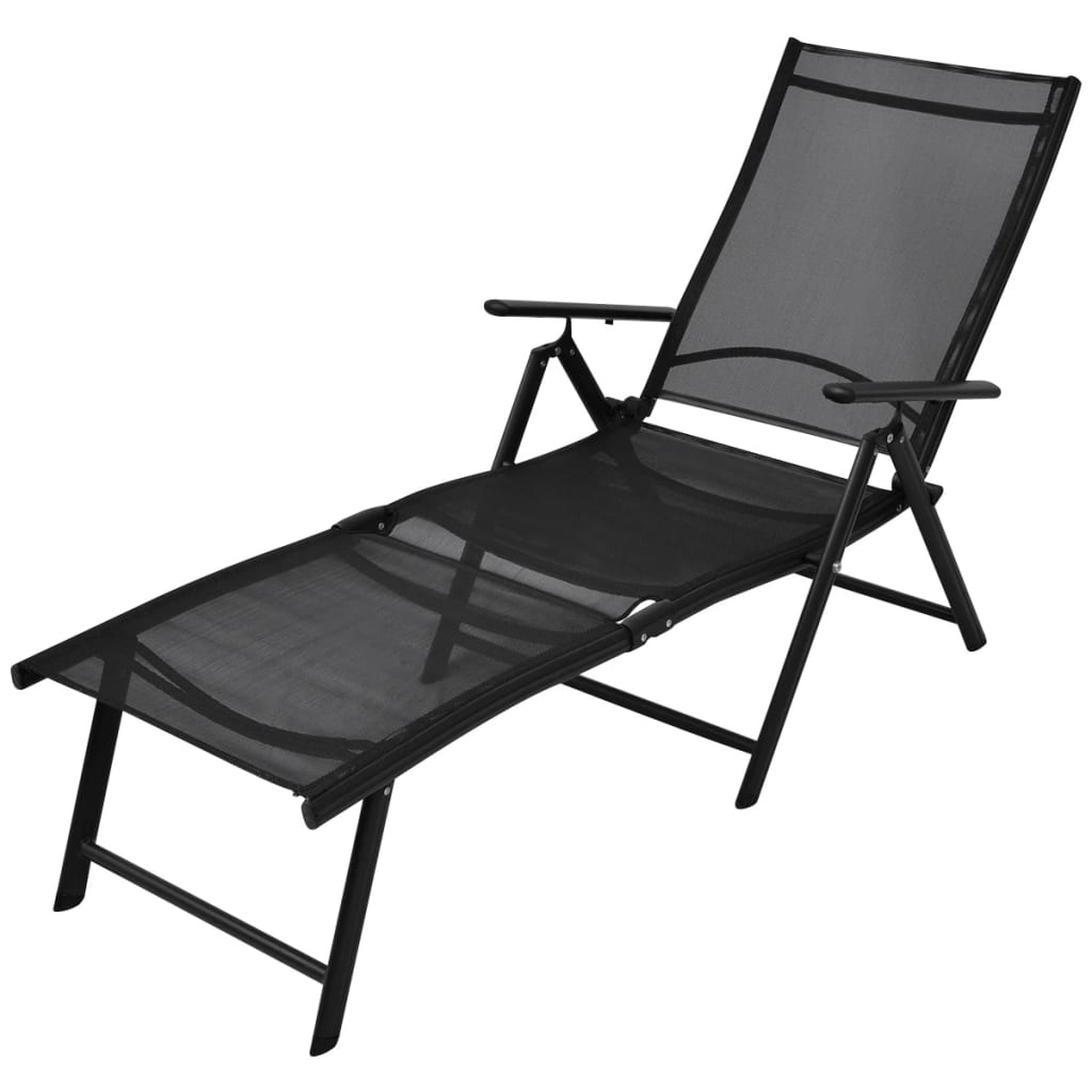 la boutique en ligne vidaxl chaise longue pliable aluminium 178 x 63 5 x 96 cm noir. Black Bedroom Furniture Sets. Home Design Ideas