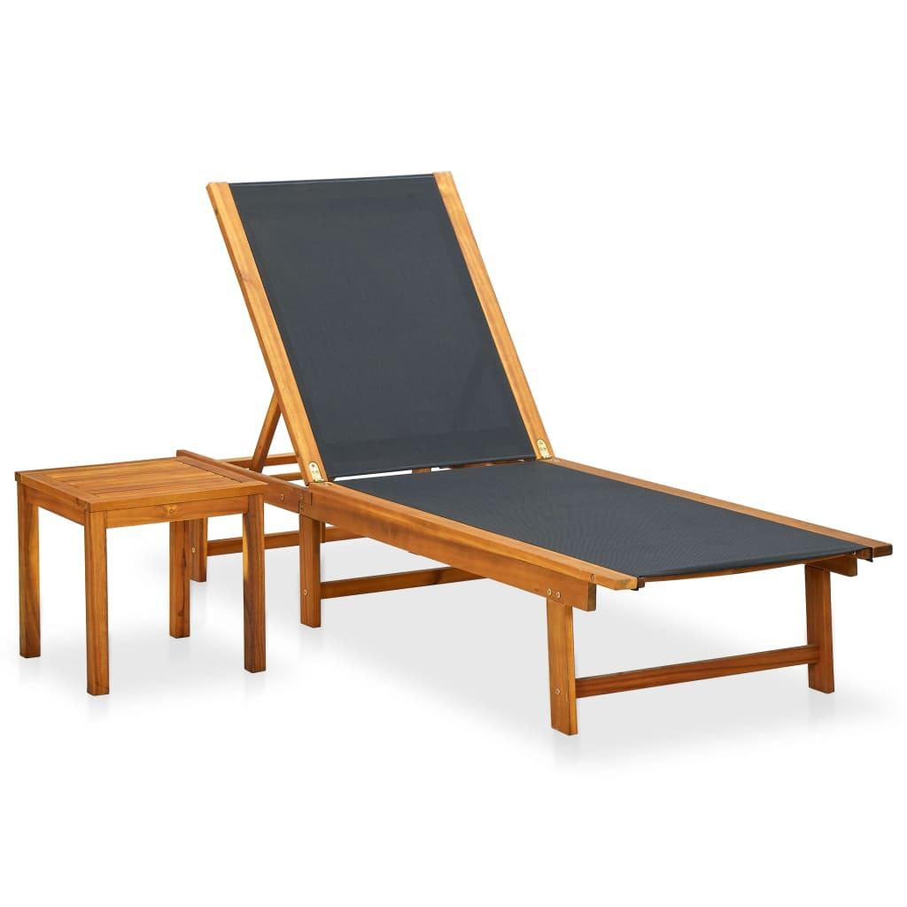 Acheter vidaxl ensemble de chaise longue et table bois d for Acheter chaises longues