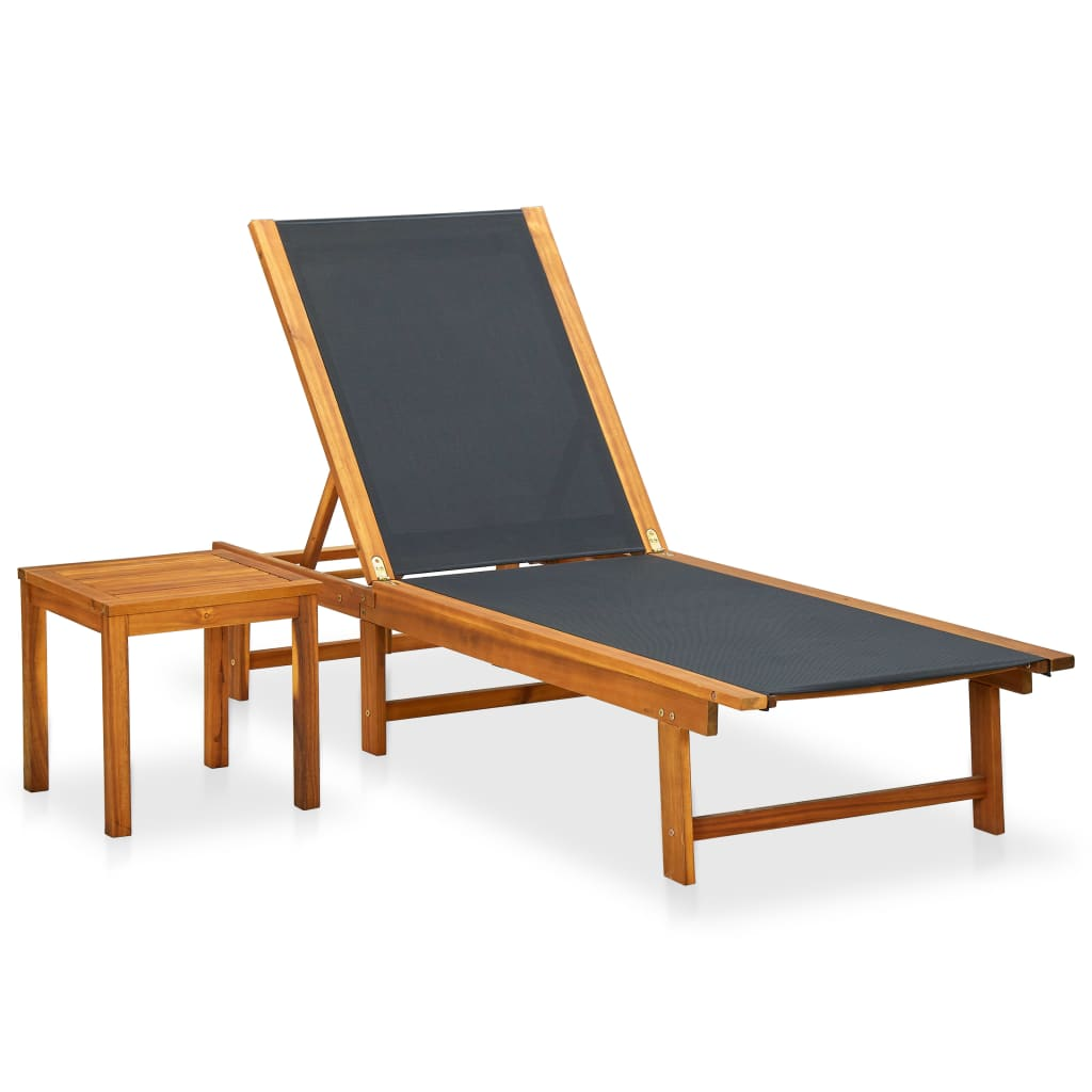 vidaXL Outdoor Sun Lounger Table Set Acacia Wood Back Adjustable Pool Seating
