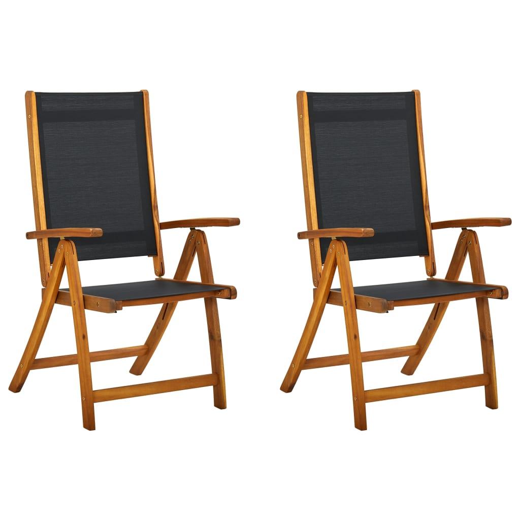 Vidaxl set 2 pz sedie pieghevoli in legno di acacia nero for Sedie pieghevoli legno