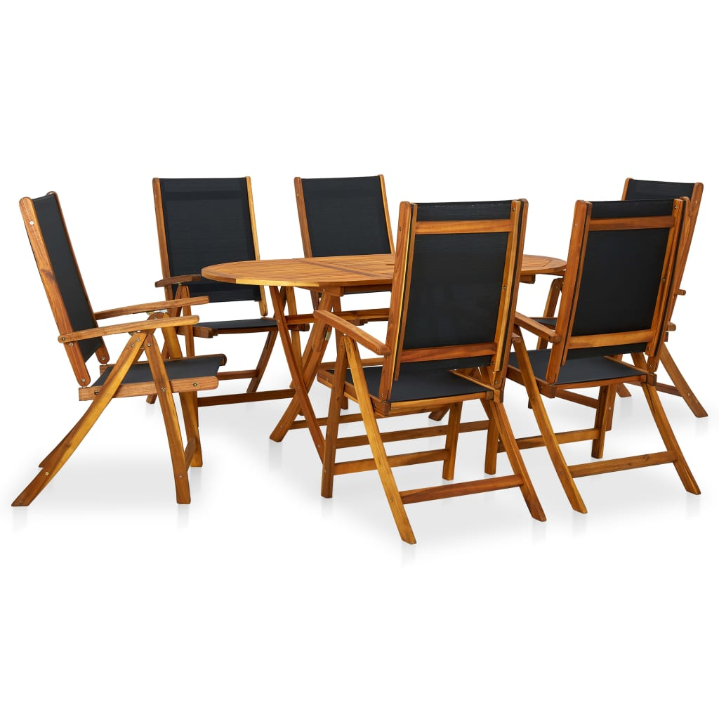 vidaXL Seven Piece Folding Outdoor Dining Set Acacia Wood vidaXLcom