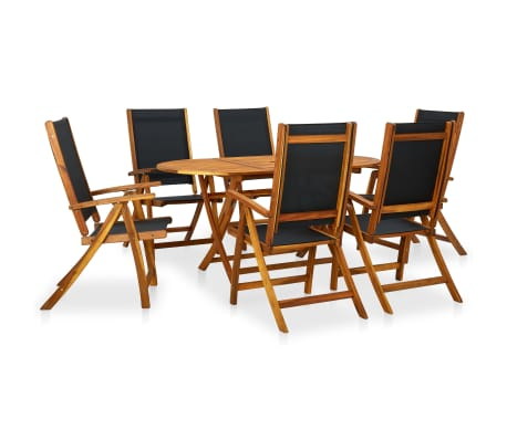 vidaXL Seven Piece Folding Outdoor Dining Set Acacia Wood