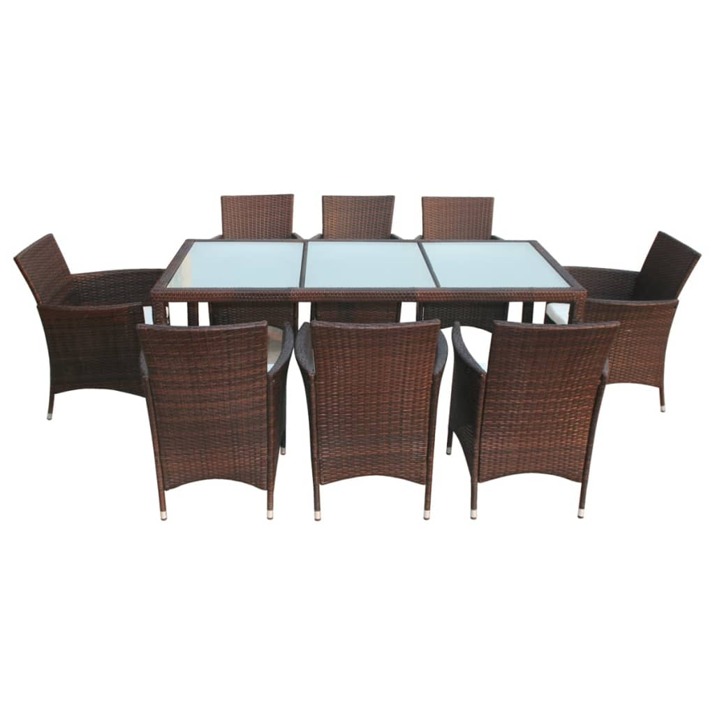 vidaxl 17 piece garden furniture set brown poly rattan. Black Bedroom Furniture Sets. Home Design Ideas