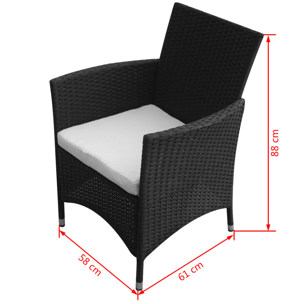 vidaxl 17 tlg gartenm bel set schwarz poly rattan g nstig kaufen. Black Bedroom Furniture Sets. Home Design Ideas