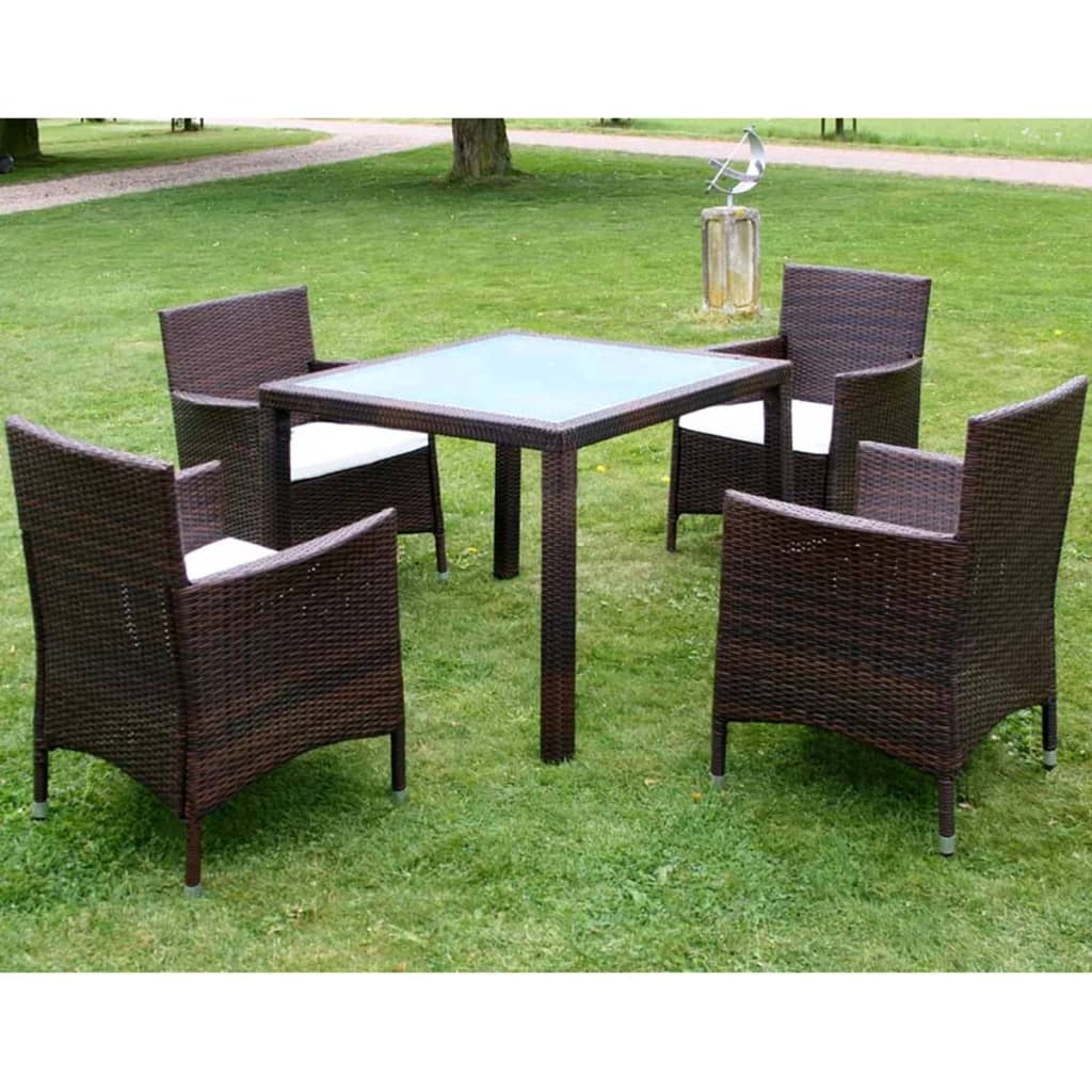 Ensemble meuble de jardin en poly rotin noir marron for Ensemble meuble de jardin