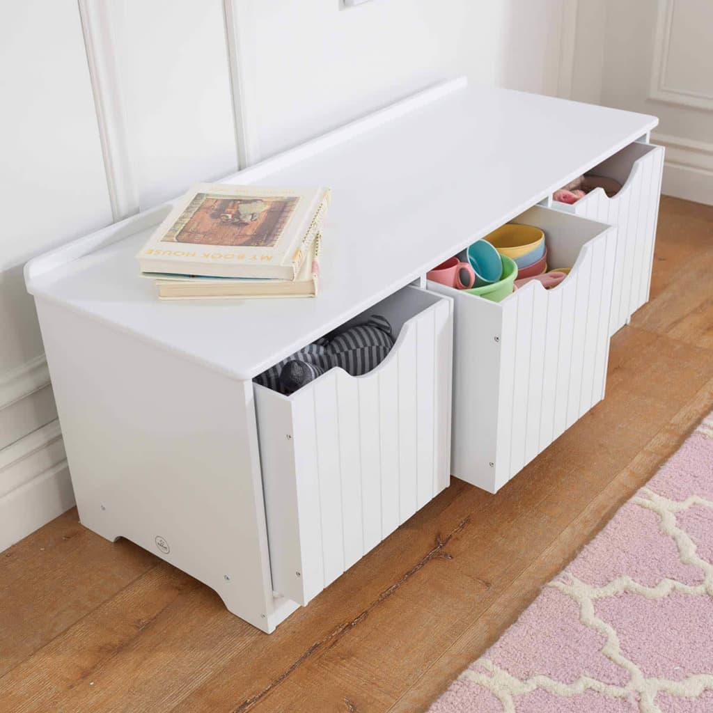 acheter kidkraft banc de rangement pour enfants blanc. Black Bedroom Furniture Sets. Home Design Ideas