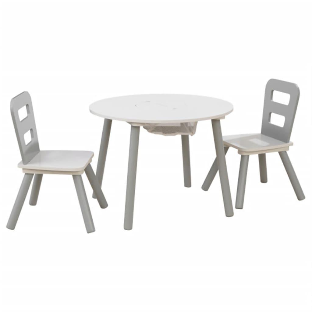 Afbeelding van KidKraft Kinderopbergtafel en stoelen set grijs massief hout 26166