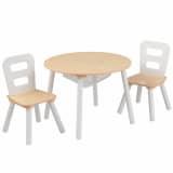 KidKraft opbevaringsbord og stolesæt til børn brun massivt træ 27027