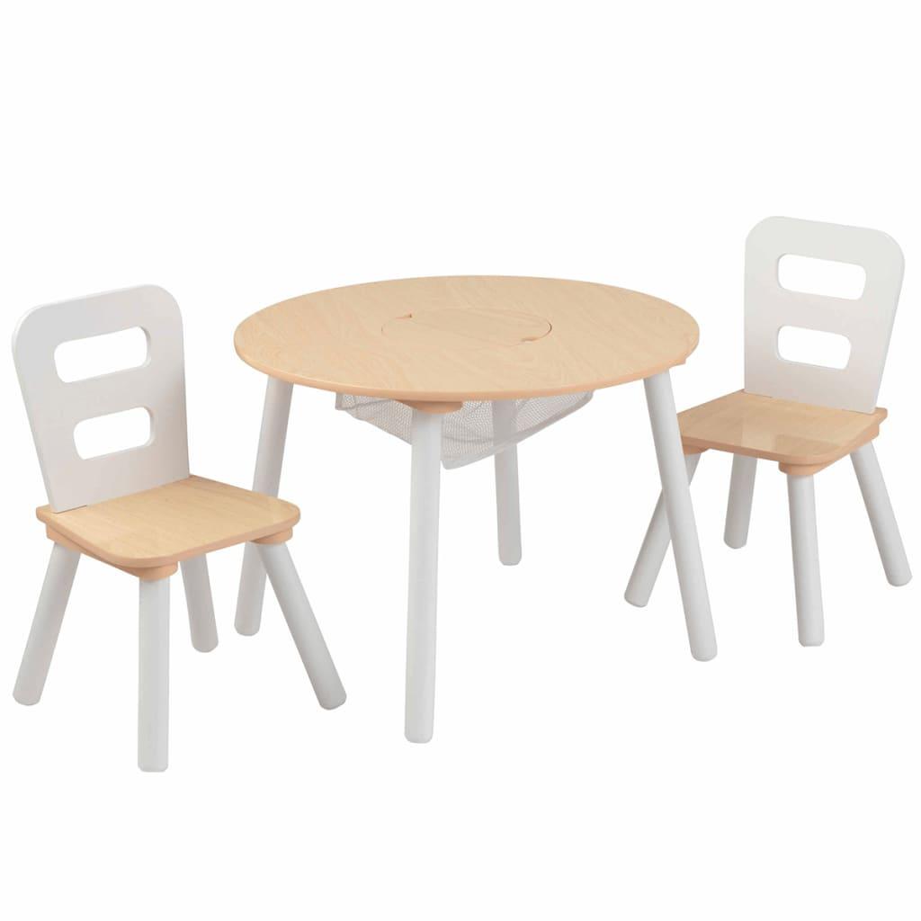 Afbeelding van KidKraft Kinderopbergtafel en stoelen set bruin massief hout 27027