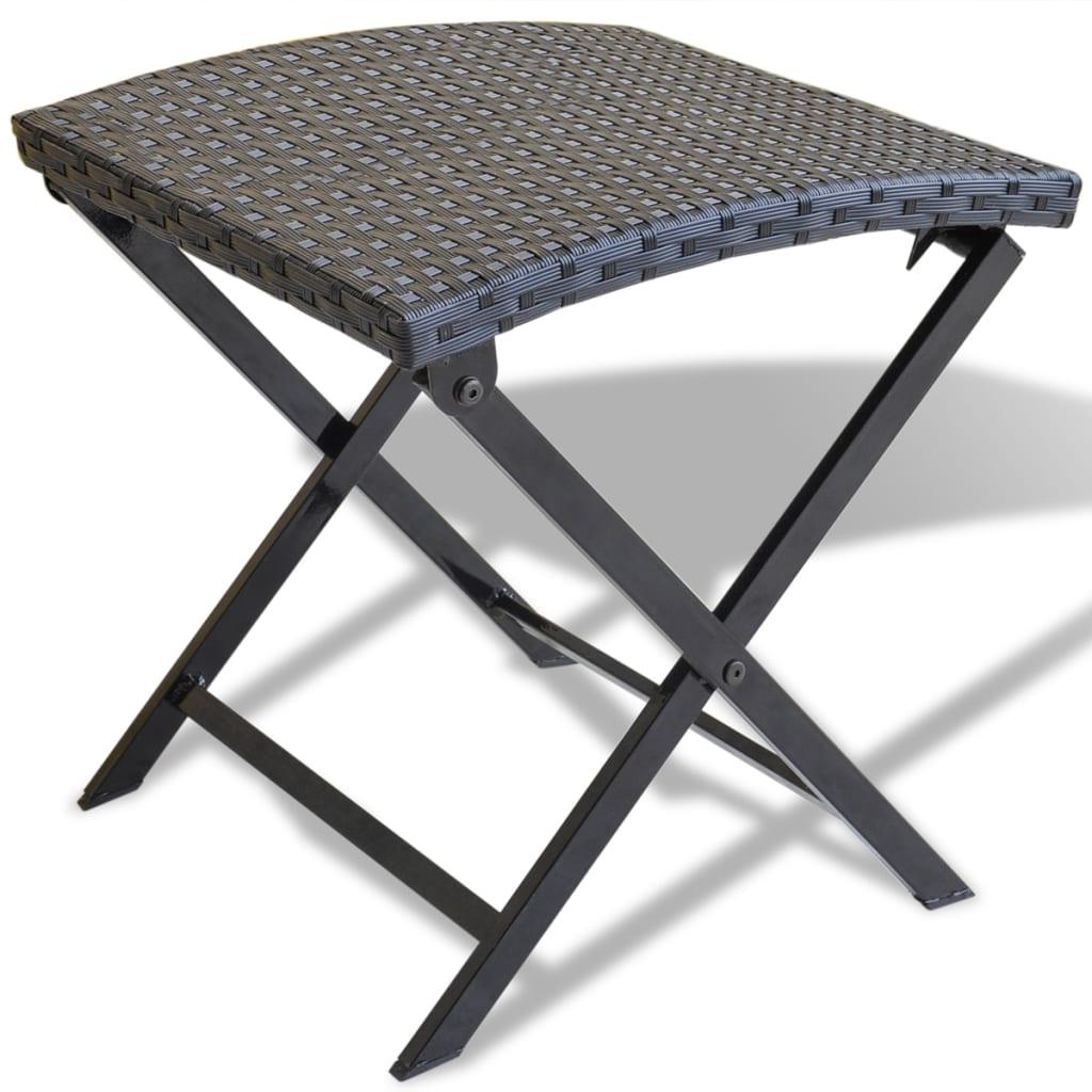 vidaxl foldable stool poly rattan black. Black Bedroom Furniture Sets. Home Design Ideas