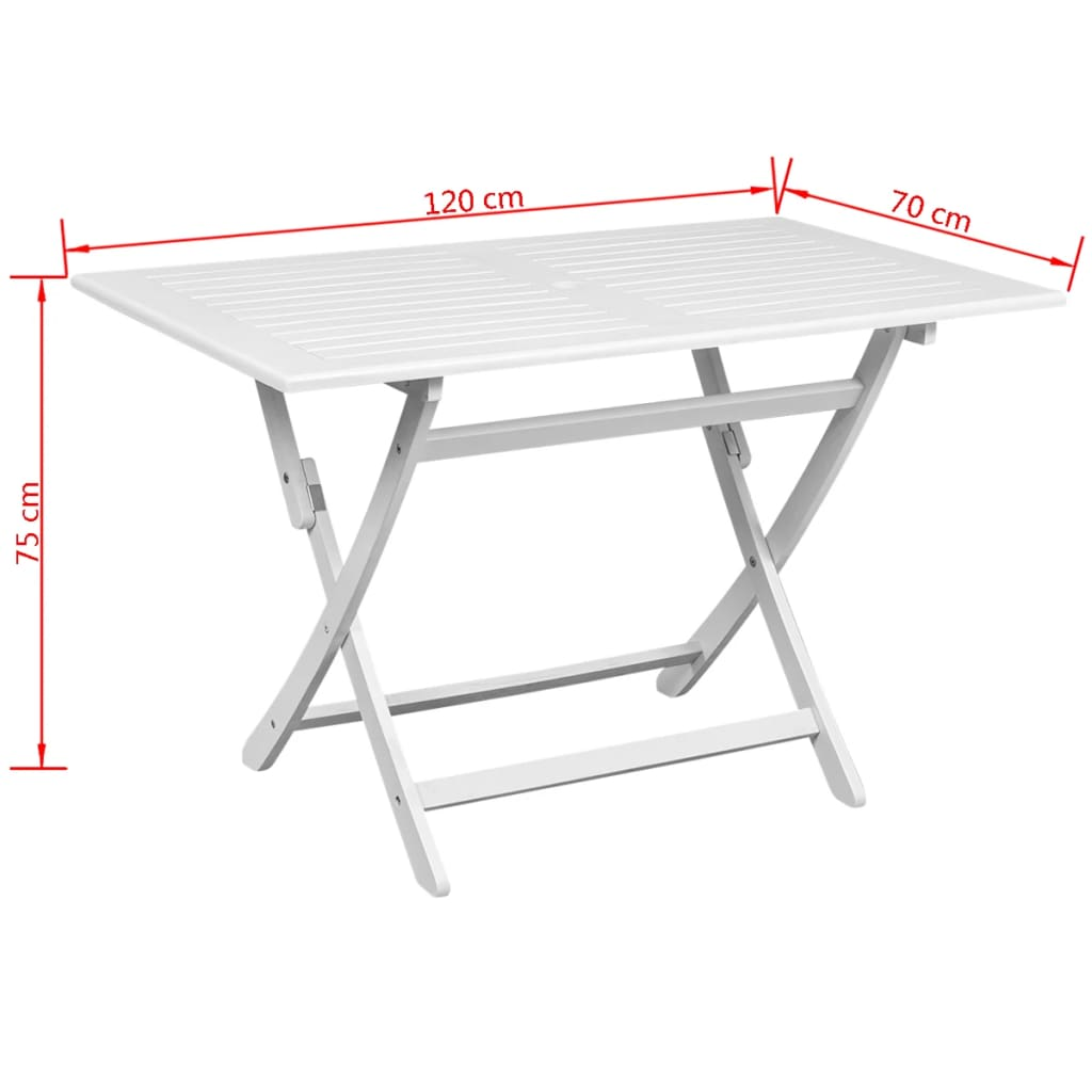 Vidaxl outdoor dining table white acacia for Wood rectangle dining table