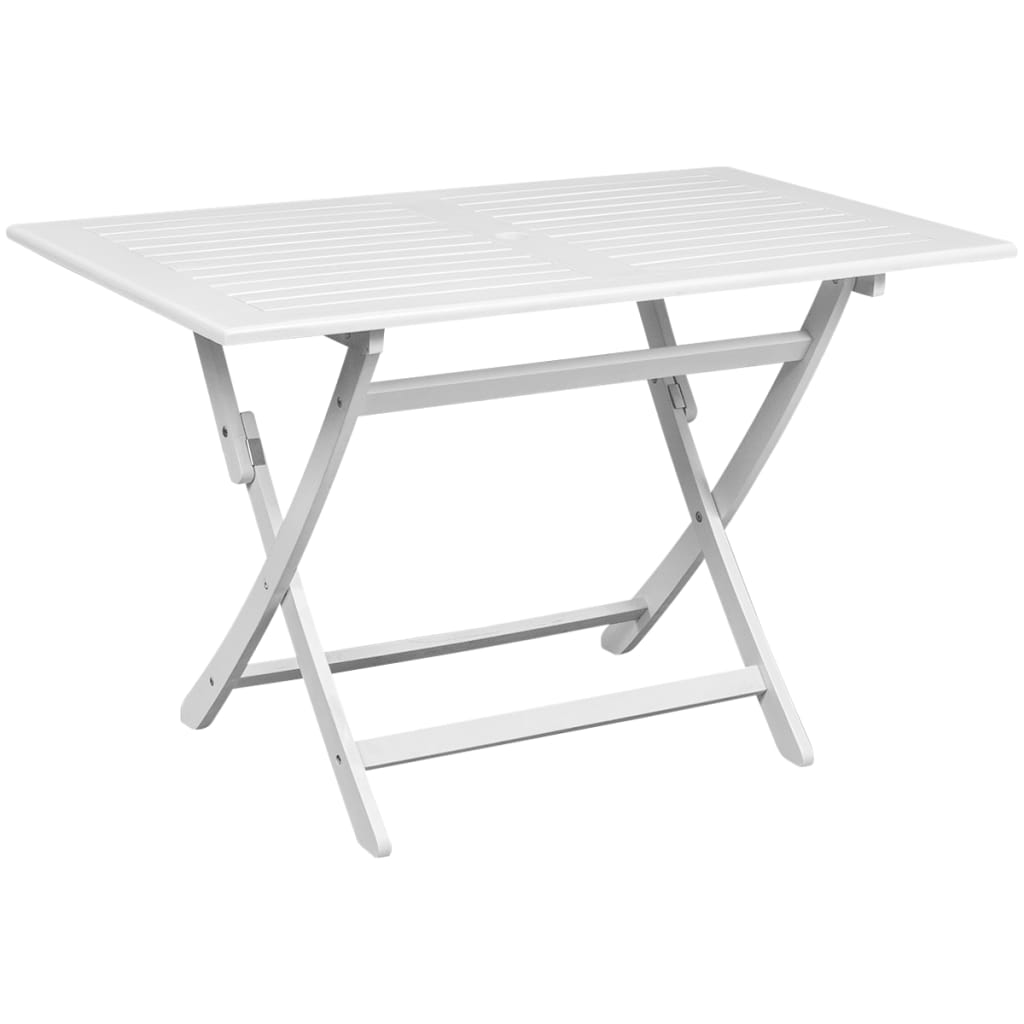 Vidaxl outdoor dining table white acacia wood rectangular - Petite table basse pliante ...