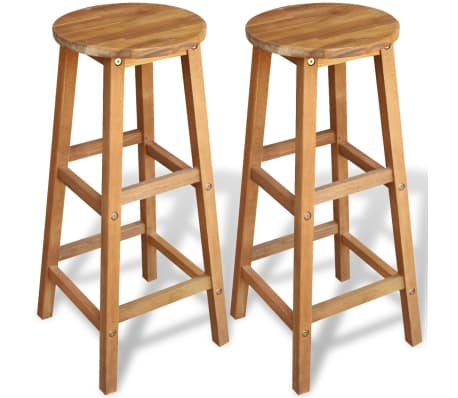 Outdoor Acacia Wood Counter Stools Set of  Oil Finished Garden