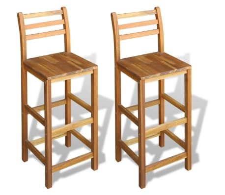 Outdoor Acacia Wood Counter Stools Set of  Oil Finished Deck