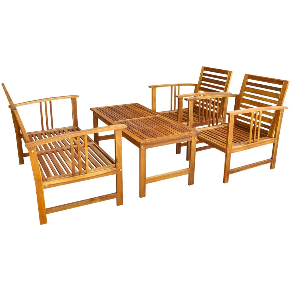 Vidaxl four piece garden furniture set acacia wood for 2 piece furniture set