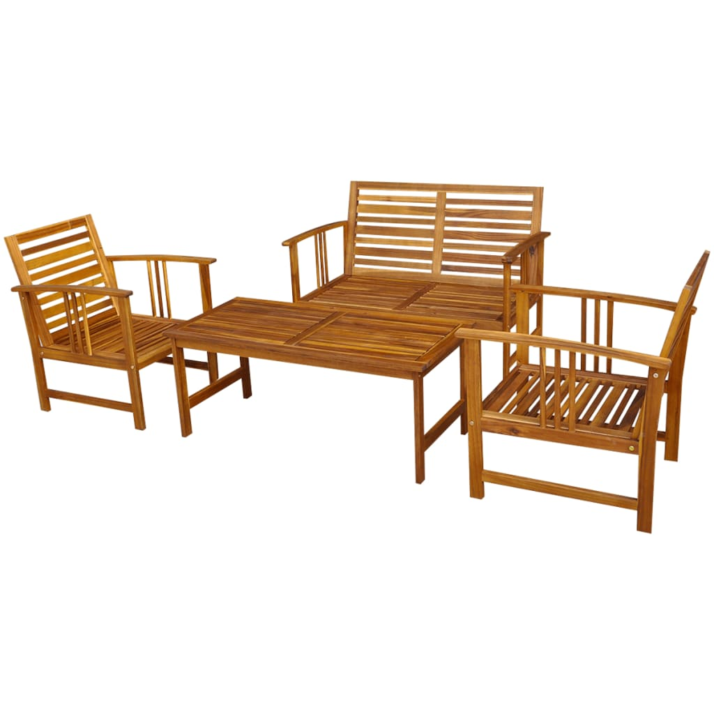 la boutique en ligne vidaxl ensemble meuble de jardin en bois d 39 acacia 4 pcs. Black Bedroom Furniture Sets. Home Design Ideas