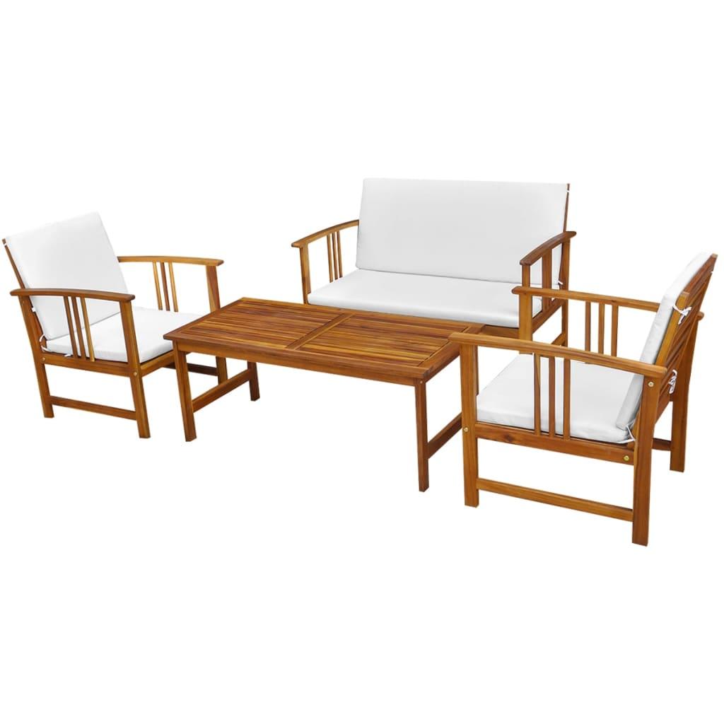 Vidaxl set de mobiliario de jard n de 10 piezas de madera for Mobiliario madera jardin