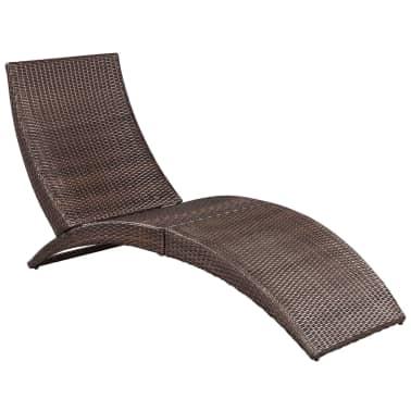 vidaxl klappbare sonnenliege mit auflage poly rattan braun g nstig kaufen. Black Bedroom Furniture Sets. Home Design Ideas