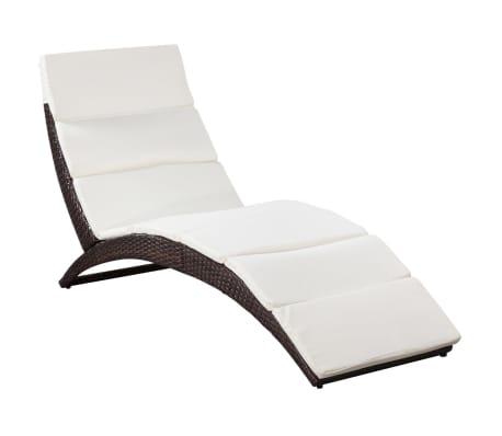 vidaxl chaise longue pliable avec coussin marron r sine tress e. Black Bedroom Furniture Sets. Home Design Ideas