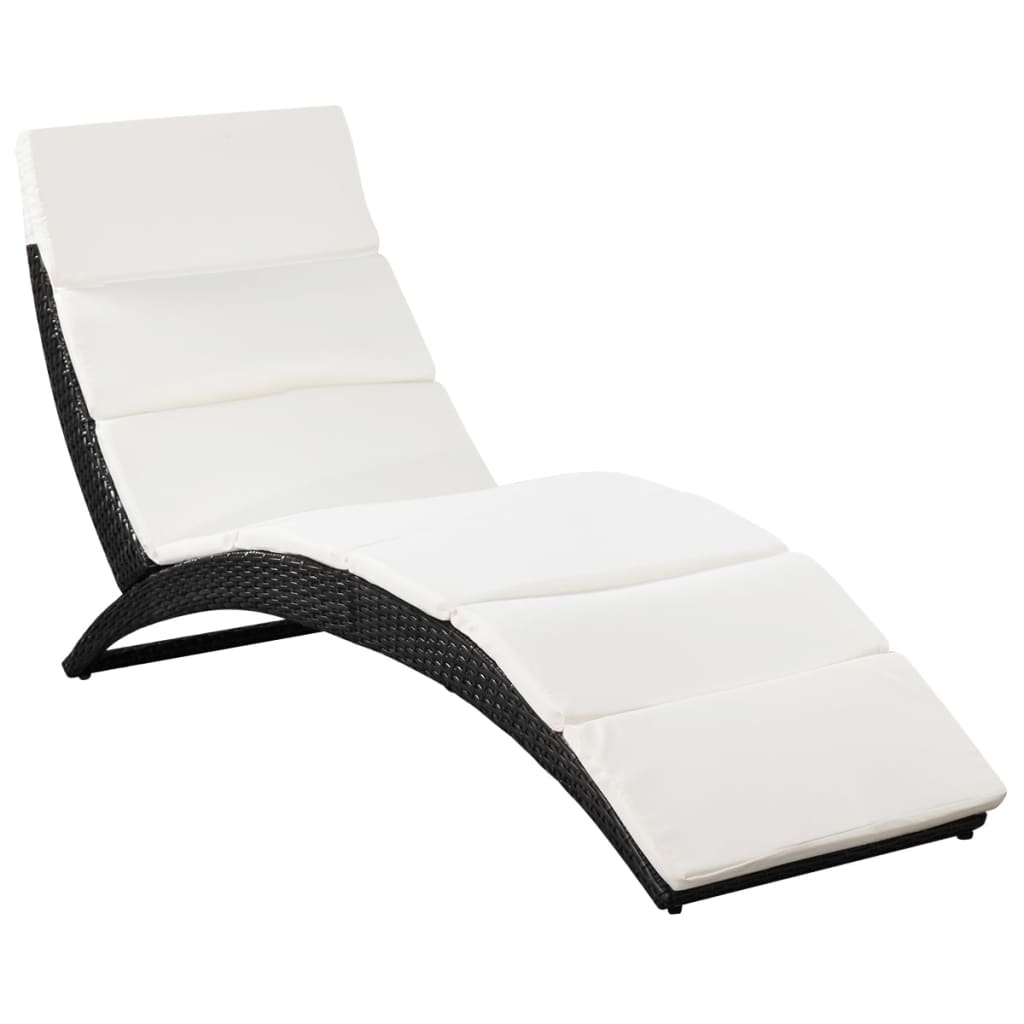 acheter vidaxl chaise longue pliable avec coussin en poly. Black Bedroom Furniture Sets. Home Design Ideas