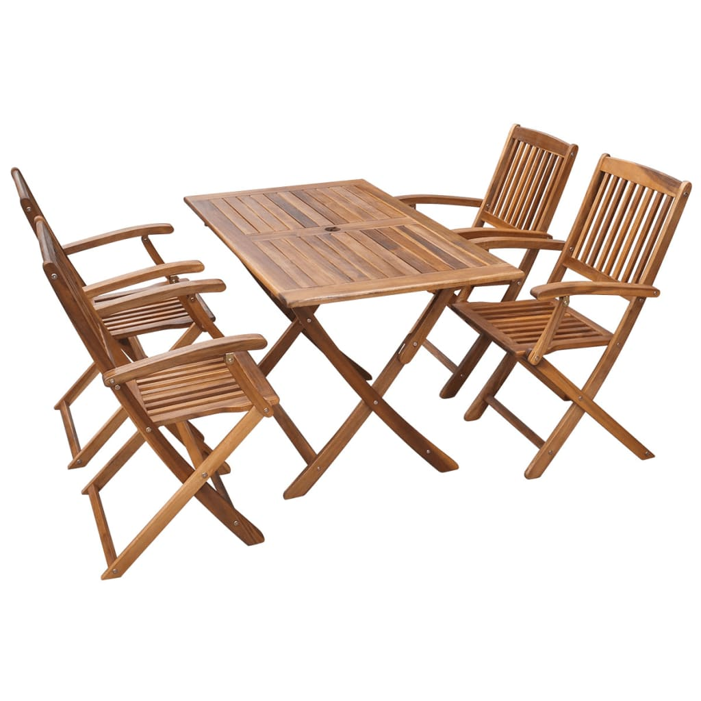 Vidaxl five piece outdoor dining set acacia for Sofas para jardin baratos