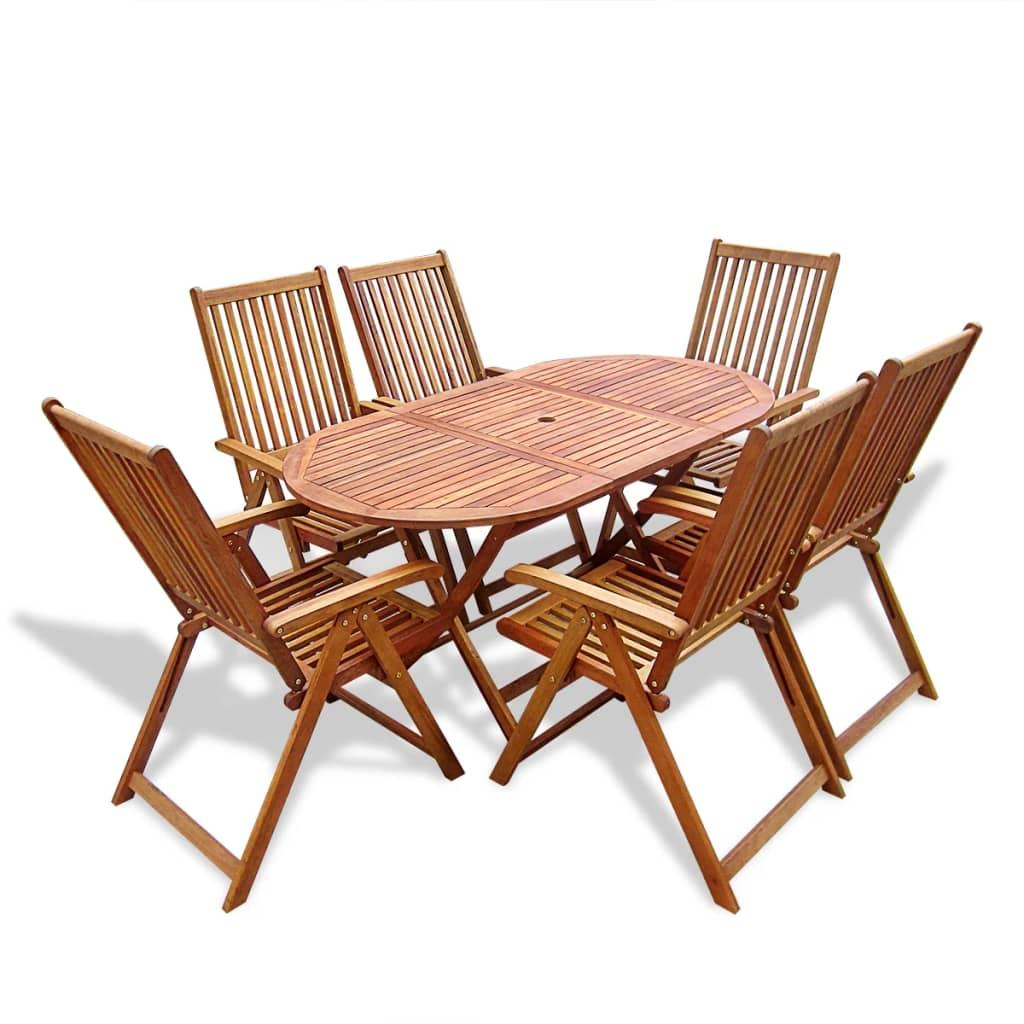 vidaXL 7 darabos fa kerti bútor