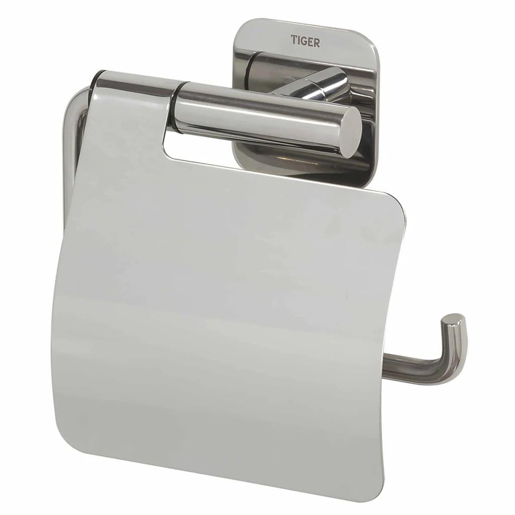 Tiger porta carta igienica con coperchio colar cromato 1314130346 - Tiger accessori bagno ...