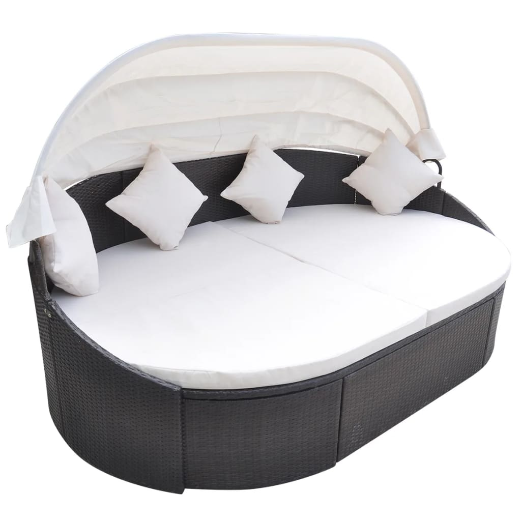 poly rattan sonnenliege sonneninsel strandkorb garten lounge muschel gartenm bel ebay. Black Bedroom Furniture Sets. Home Design Ideas