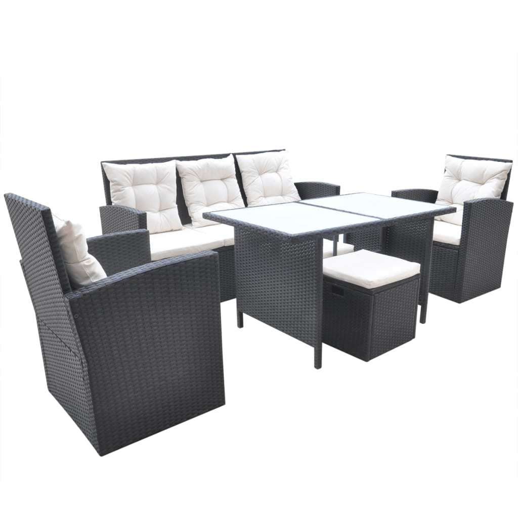 der vidaxl 18 tlg gartenm bel set essgruppe polyrattan schwarz online shop. Black Bedroom Furniture Sets. Home Design Ideas