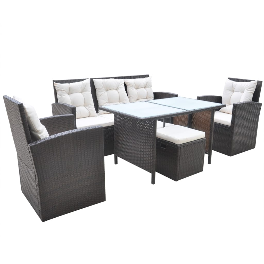 vidaxl 18 tlg gartenm bel set essgruppe polyrattan braun g nstig kaufen. Black Bedroom Furniture Sets. Home Design Ideas