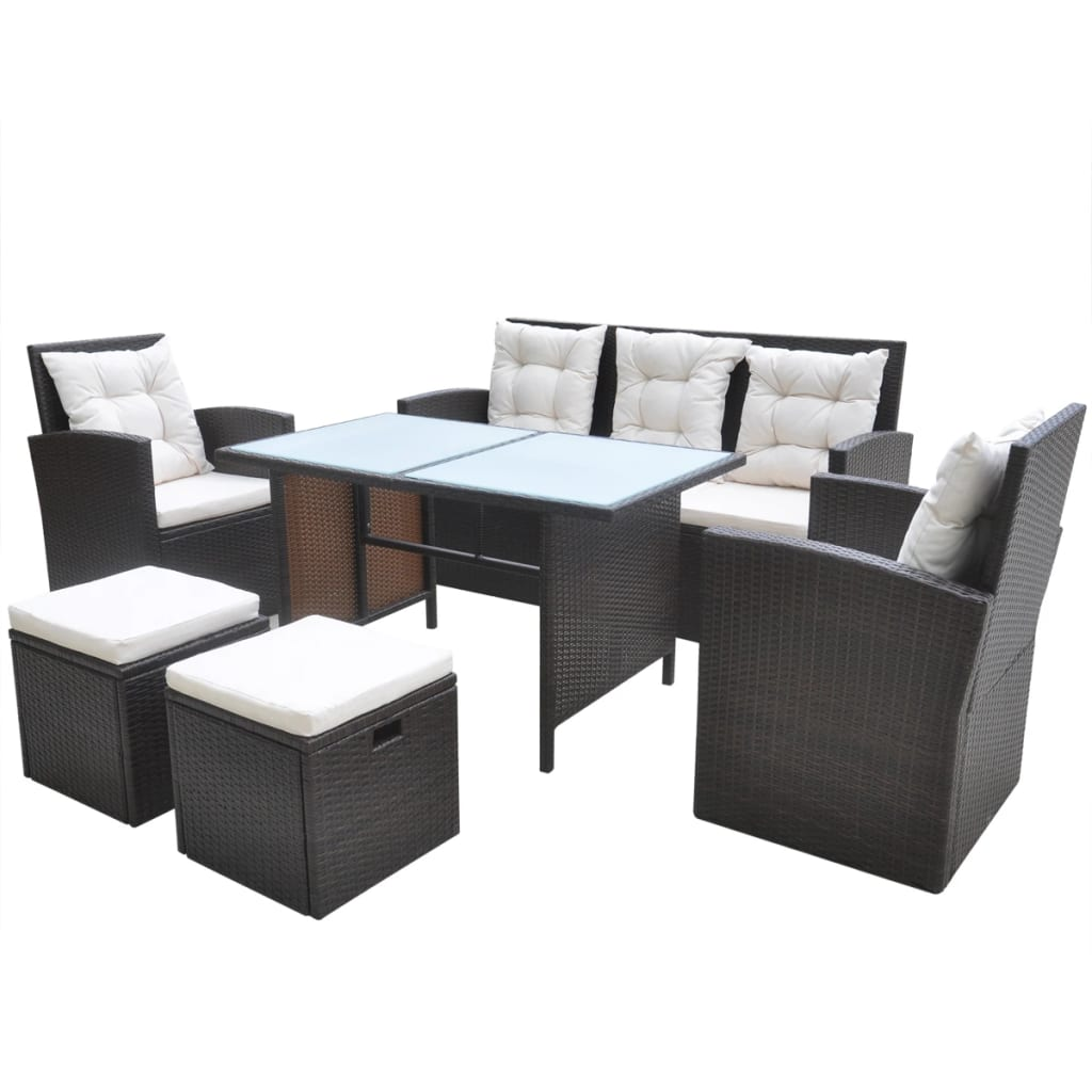 gartenm bel set polyrattan braun. Black Bedroom Furniture Sets. Home Design Ideas