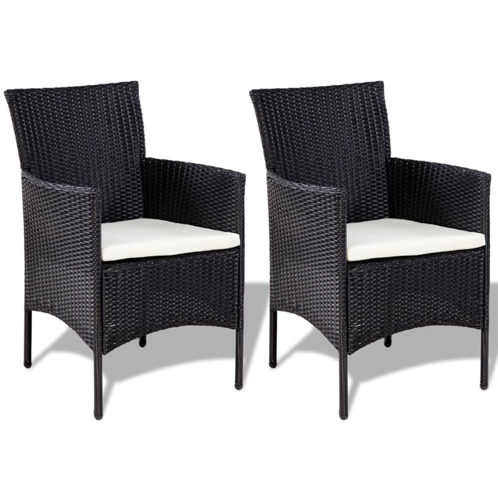 Vidaxl seven piece garden lounge set poly rattan black for Lounge set rattan gunstig