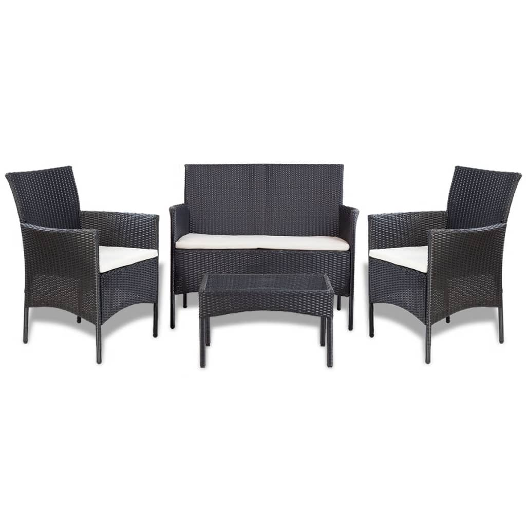 der vidaxl 7 tlg gartenm bel lounge set poly rattan schwarz online shop. Black Bedroom Furniture Sets. Home Design Ideas