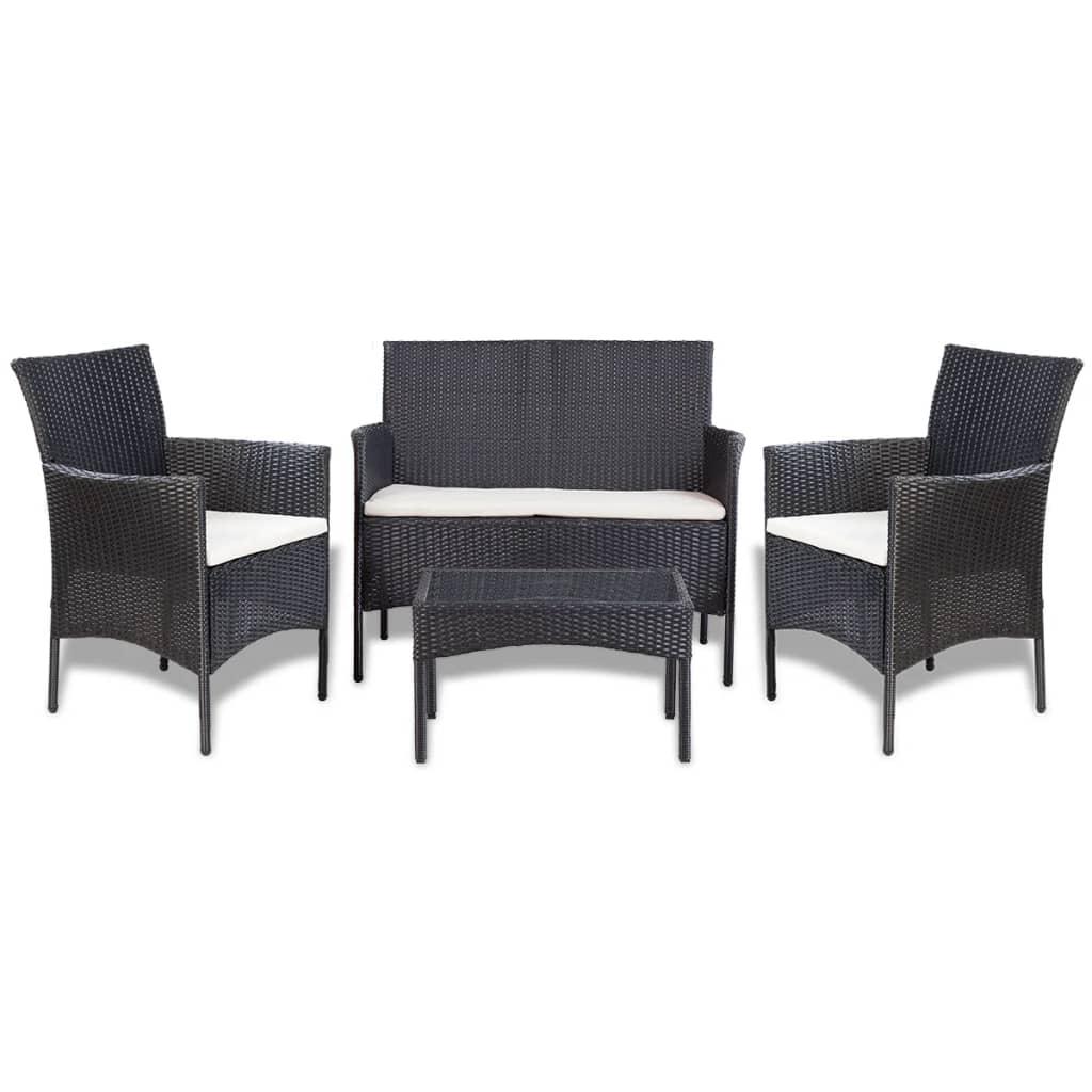 vidaxl 7 tlg gartenm bel lounge set poly rattan schwarz. Black Bedroom Furniture Sets. Home Design Ideas