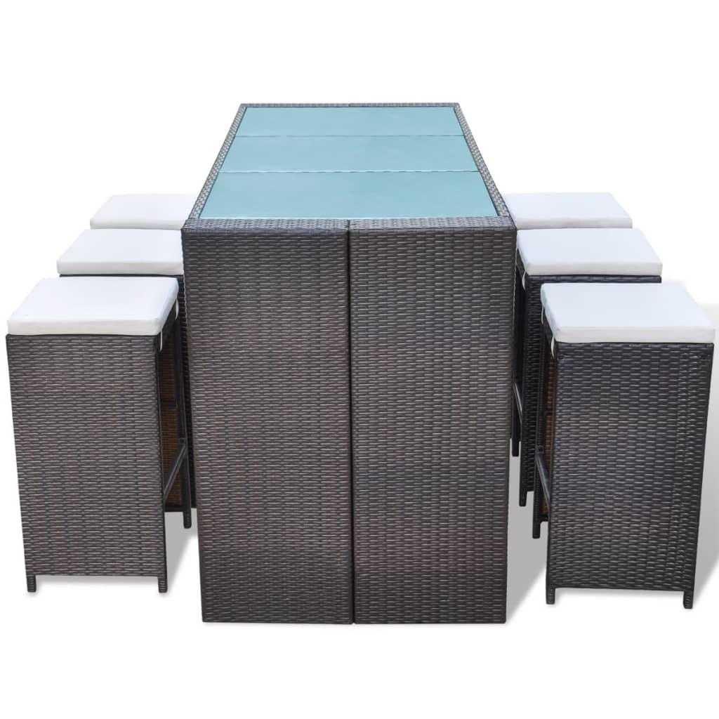 vidaxl 13 delige tuin bar set poly rattan bruin. Black Bedroom Furniture Sets. Home Design Ideas
