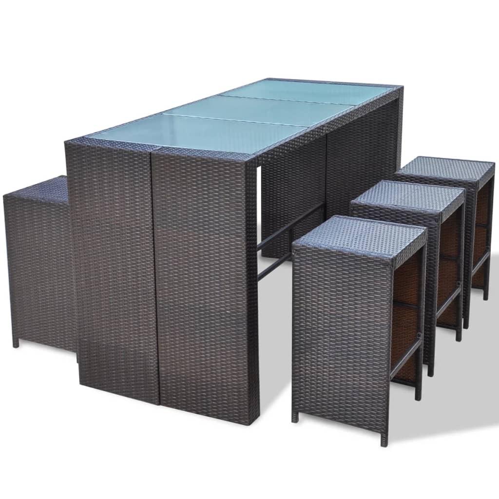 vidaxl 13 tlg gartenbar set poly rattan braun g nstig kaufen. Black Bedroom Furniture Sets. Home Design Ideas