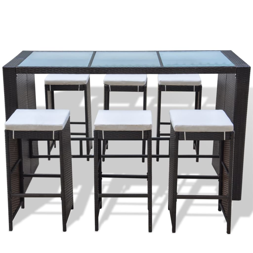 acheter vidaxl ensemble bar de jardin de 13 pi ces en rotin synth tique marron pas cher. Black Bedroom Furniture Sets. Home Design Ideas