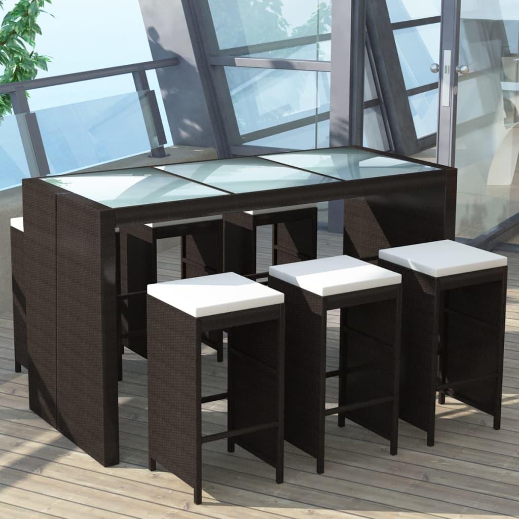 vidaXL Conjunto de Muebles Tipo Bar para Jardín 7 Piezas de Poli ...