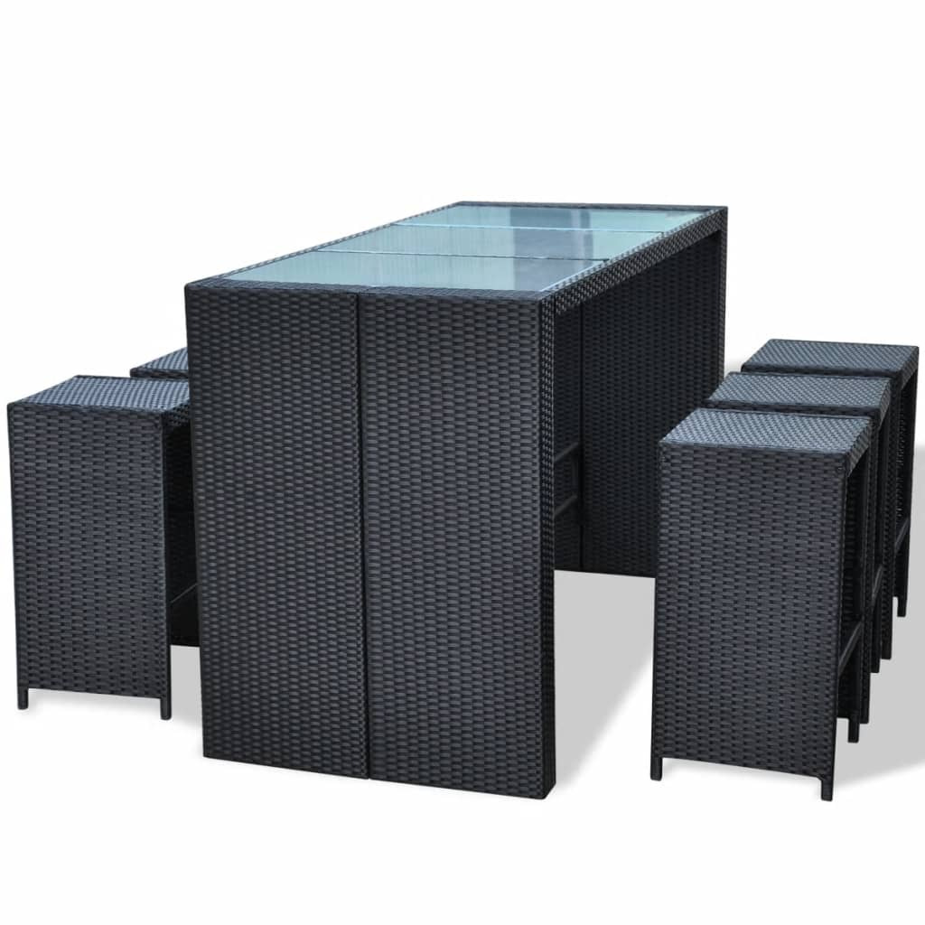 Black Bar Set: VidaXL Garden Bar Set 13 Piece Wicker Poly Rattan Black